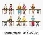 group of customer enjoying... | Shutterstock .eps vector #345627254