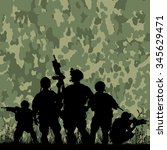 Silhouette Of Soldiers With...