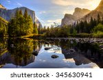 sunrise on yosemite valley ... | Shutterstock . vector #345630941