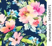 seamless pattern with flowers... | Shutterstock . vector #345634571