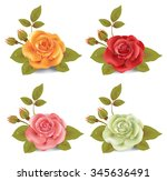 collection of photo realistic... | Shutterstock .eps vector #345636491