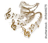 vector wave of musical notes... | Shutterstock .eps vector #345644075