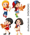 girls hugging cute chicken... | Shutterstock .eps vector #345654341