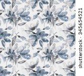 watercolor flowers seamless... | Shutterstock . vector #345654521