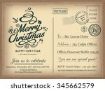 vintage christmas and happy new ... | Shutterstock .eps vector #345662579