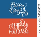 set of two christmas banners or ... | Shutterstock .eps vector #345668591