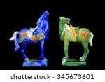 Tri Coloured Glazed Pottery Of...