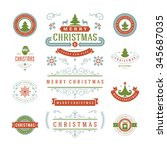 christmas labels and badges... | Shutterstock .eps vector #345687035
