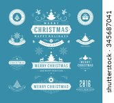christmas labels and badges... | Shutterstock .eps vector #345687041