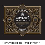 antique frame vintage border... | Shutterstock .eps vector #345690044