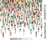 crowd of people  men  women ... | Shutterstock .eps vector #345695711