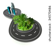 infinite road from nature to... | Shutterstock . vector #34570486