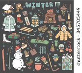 winter season doodle set... | Shutterstock .eps vector #345705449