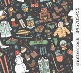 winter season doodle set... | Shutterstock .eps vector #345705455