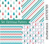 set of seamless christmas... | Shutterstock .eps vector #345705785