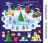 winter landscape  christmas... | Shutterstock .eps vector #345706931