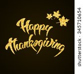 happy thanksgiving day gold... | Shutterstock . vector #345710654
