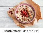 porridge breakfast with... | Shutterstock . vector #345714644