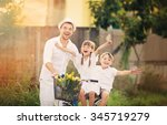 happy father with daughter... | Shutterstock . vector #345719279