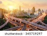 shanghai elevated road junction ... | Shutterstock . vector #345719297
