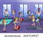 poster of fitness hall where... | Shutterstock .eps vector #345719927