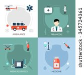 emergency paramedic icons set... | Shutterstock .eps vector #345724361