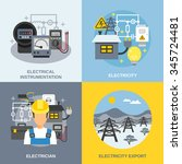 electricity concept icons set... | Shutterstock .eps vector #345724481