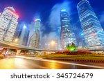 high rises in shanghai's new... | Shutterstock . vector #345724679