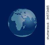 stylized 3D vector globe, europe, africa - stock vector