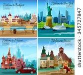 famous cities design concept... | Shutterstock .eps vector #345727847
