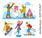 winter people characters and... | Shutterstock .eps vector #345731567