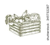 wooden box with vegetables... | Shutterstock .eps vector #345732287