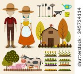 farming agriculture and cattle... | Shutterstock .eps vector #345734114