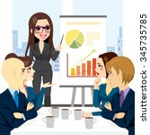 businesswoman on a meeting with ... | Shutterstock .eps vector #345735785