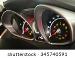 Modern car dashboard show all led signs with a right side view. (selective focus and shallow depth of field) - stock photo