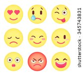 set of flat emoticons. set of... | Shutterstock .eps vector #345743831