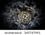 vintage pocket watch on grunge... | Shutterstock . vector #345747491