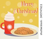 christmas card. plate of... | Shutterstock .eps vector #345747611