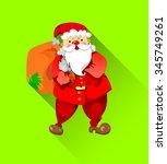 bright flat funny santa claus...   Shutterstock .eps vector #345749261