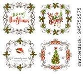 set of christmas ornate frames. ... | Shutterstock .eps vector #345753575
