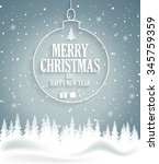 christmas poster on blue... | Shutterstock .eps vector #345759359