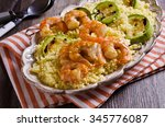 fried shrimp on skewers with... | Shutterstock . vector #345776087