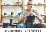craftsman artist pottery skill... | Shutterstock . vector #345784955