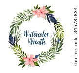 watercolor hand drawn wreath....   Shutterstock . vector #345785834