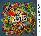 2016 year hand lettering and... | Shutterstock .eps vector #345795479