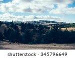 loving couple sitting on... | Shutterstock . vector #345796649