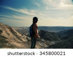 cute 8 years old boy hiking in  ... | Shutterstock . vector #345800021
