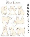 cute polar bears set. cartoon... | Shutterstock .eps vector #345815954