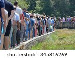 a group of people standing in... | Shutterstock . vector #345816269