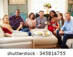 group of friends relaxing at... | Shutterstock . vector #345816755